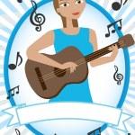 Cartoon girl playing acoustic guitar — Stock Vector