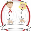 Royalty-Free Stock Imagen vectorial: Cartoon Chefs smiling at each other