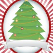 Vector de stock : Christmas Tree Oval Banner Blank Banner