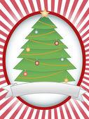 Christmas Tree Oval Banner Blank Banner — Stock Vector