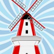 Red White Windmill Blue Swirl Background — Stock Vector