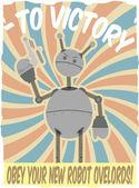 World War II Poster Faux Robot Invasion — Stock Vector