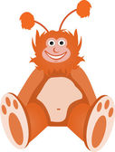 Furry Fuzzy Orange Chubby Creature Sits — Stock Vector