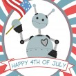 Vector de stock : 4th of July Robot Waving Flag Banner
