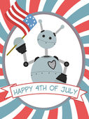 4th of July Robot Waving Flag Banner — Stok Vektör