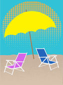 White Chair on Beach Under Umbrella Halftones — Stock Vector