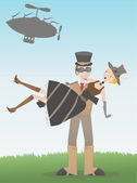 Steampunk man catching steampunk woman who's fallen from airship — Stock Vector