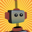 Robot Protrait surrounded by bright orange sunny rays beams - Stockvectorbeeld