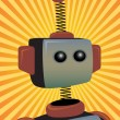 Robot Protrait surrounded by bright orange sunny rays beams - Vettoriali Stock