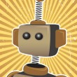 Retro Grunge Robot Protrait Propaganda Poster surrounded by bright brown su — Stock Vector