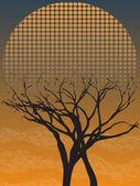 Läskiga gotiska enda avlövade träd i skymningen med fog — Stockvektor