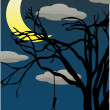 Spooky Quarter Moon above bare tree with hanging noose — Stock Vector