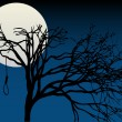 Royalty-Free Stock Vector Image: Spooky Full Moon highlight bare tree with hanging noose