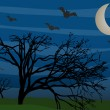 Bats flying by leafless trees on foggy mysterious night — Stock Vector