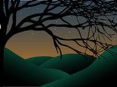 Curvilínea árvore assustador ao entardecer com estrelas e colinas — Vetorial Stock