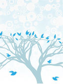 Blue Tree with birds perched and flying around — Stock Vector