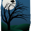 Single Bird Sits on Creepy Curvy Tree at night under full moon surrounded b — Stock Vector
