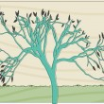 árvore abstrata coloridos em estilo retro deslocamento — Vetorial Stock