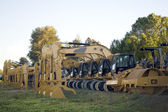 Steamrollers and Bulldozers in a Line — Stock Photo