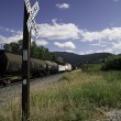 Railroad Crossing with Tankers — Stock Photo