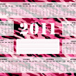 2011 Calendar in Pink and Burgundy - Sunday Start - Stock Vector