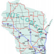 Постер, плакат: Wisconsin State Interstate Map