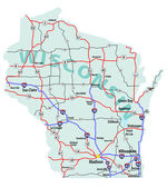 Wisconsin State Interstate Map — Stock Photo
