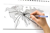 World map with lines between the cities — Stock Photo
