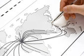 Abstract world map with points and lines — Stock Photo