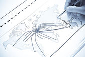 World map with lines between the world — Stock Photo