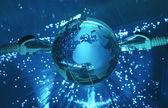 Teknoloji dünya küre — Stok fotoğraf