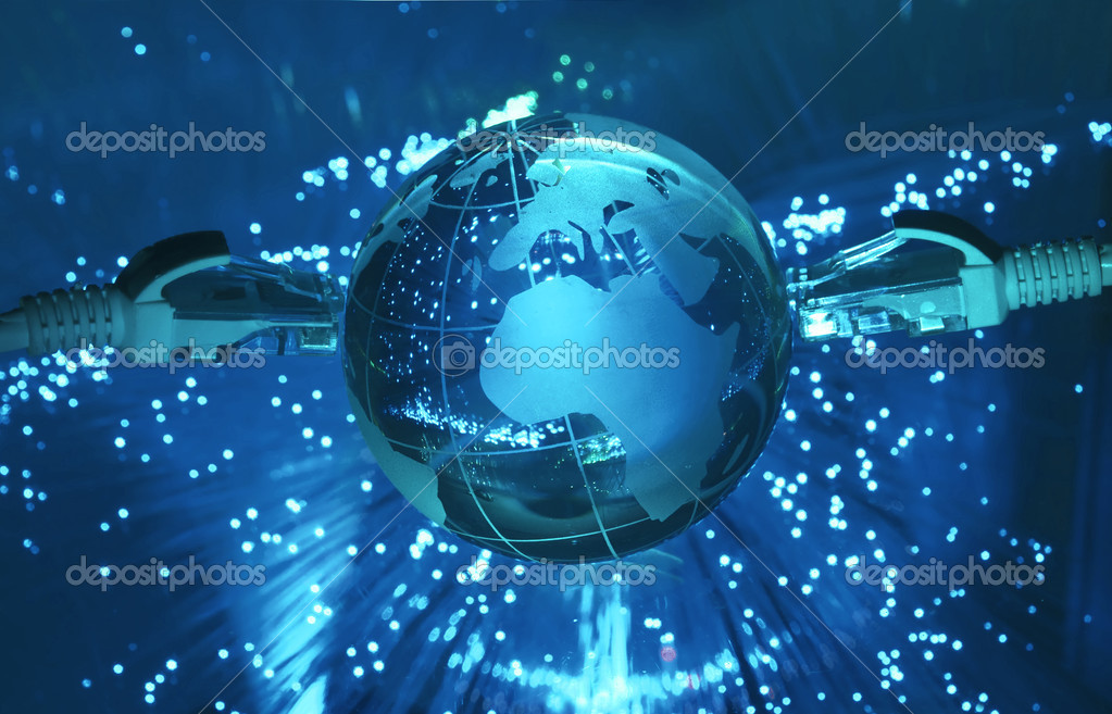 Technology earth globe against fiber optic background  — Foto de Stock   #3074434