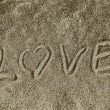 I Love you in the sand — Stok fotoğraf
