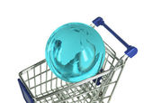 Concept of shopping cart with a globe world made of glass — Stock Photo