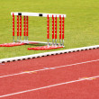 Track and hurdles — Stock Photo