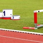 Track lanes, winner's podium — Stock Photo