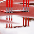 Hurdles near the runway — Stock Photo
