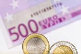 Euro coins, euro bill — Stock Photo
