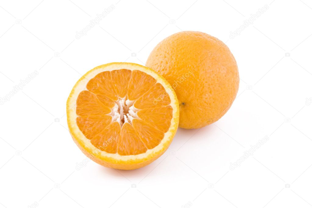 Fresh orange isolated on white background, fruits — Stock Photo #3366032