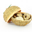 Three eggs in a little basket — Stock Photo