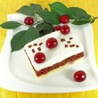 Homemade cake with sour cherries — Stock Photo