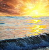 Sea wave at sunset — Stock Photo