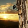 Climber on sunset — Stock fotografie