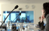 Microphone in a conference room — Stock Photo