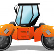 Stock Vector: Orange road-roller