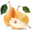 Pears and a half and leave — Stock Vector