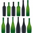 Collection of silhouette bottles — Stock Vector