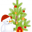 Christmass snowman — Stock Vector
