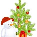 Christmass snowman — Stock Vector
