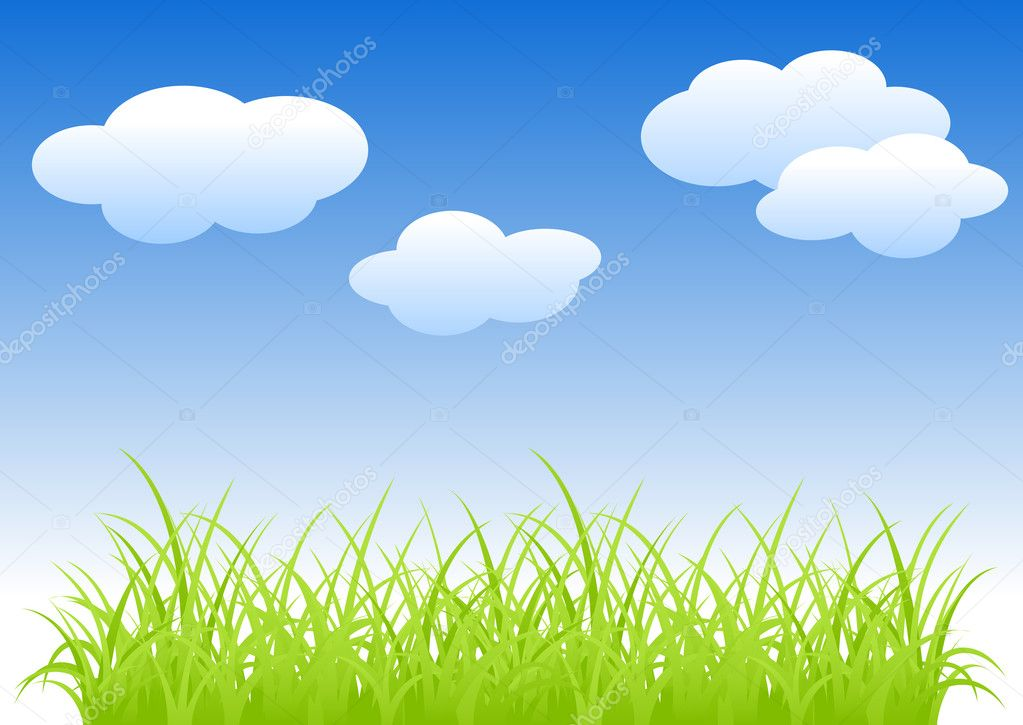 Fragment of a green grass and blue sky. Vector illustration, isolated on a white. — Stock Vector #3894061
